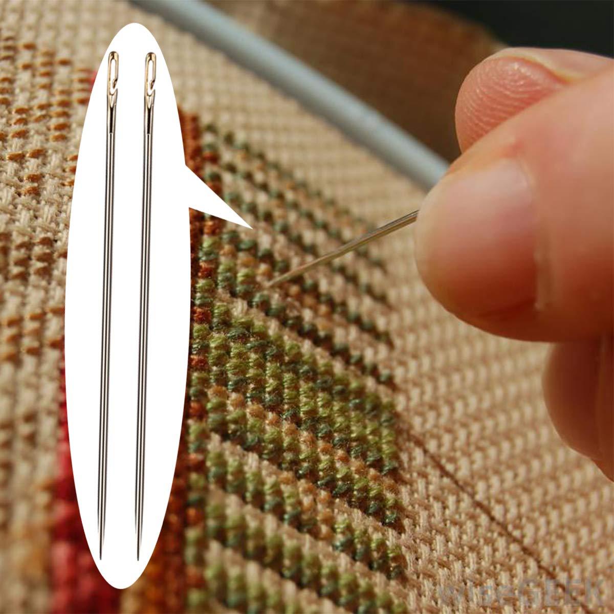 Agujas de coser a mano 12 piezas de agujas de costura de apertura lateral de acero inoxidable para coser a mano