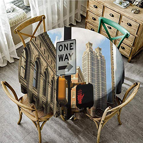 DONEECKL Wrinkle Resistant Tablecloth City One Way Sign in Front of Atlanta Skyline Downtown Apartments Urban View Washable Tablecloth D51 Ivory Black Pale Blue