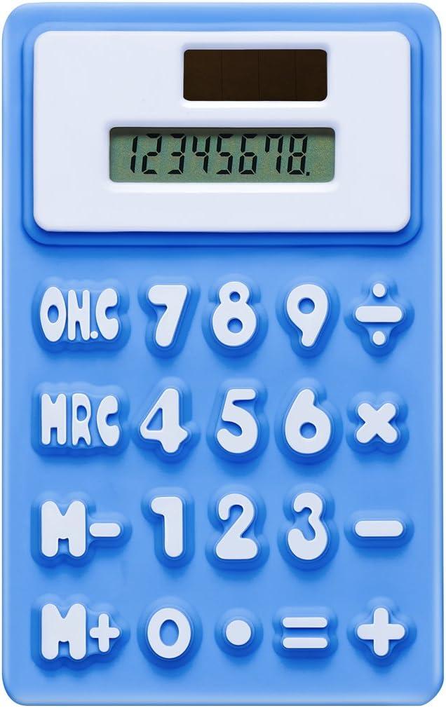 8桁デュアルデスクトップ電卓、ソーラーエネルギー、LCD表示(ブルー)