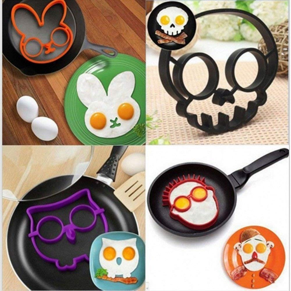 Silicone Fried Egg and Pancake Mold (4sets)--Cute Owl/White Rabbit /skull/the Guy with Glasses Patterns shaper Omelette maker,Egg Cake Ring ,Bakeware Accessories Kitchen Tools