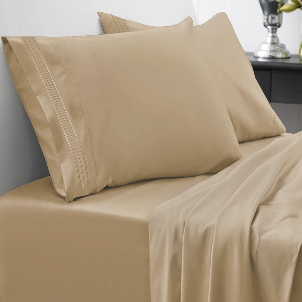Sweet Home Collection 1800 Thread Count Bed Sheet Set Egyptian Quality Brushed Microfiber 5 Piece Deep Pocket, Split King, Camel