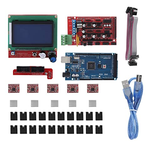 ASHATA Impresora 3D Placa Base RAMPS 1.4 Blindaje/Placa de ...