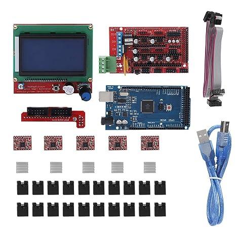 Bewinner Impresora 3D Motherboard, Tarjeta madre RAMPS 1.4 Shield ...