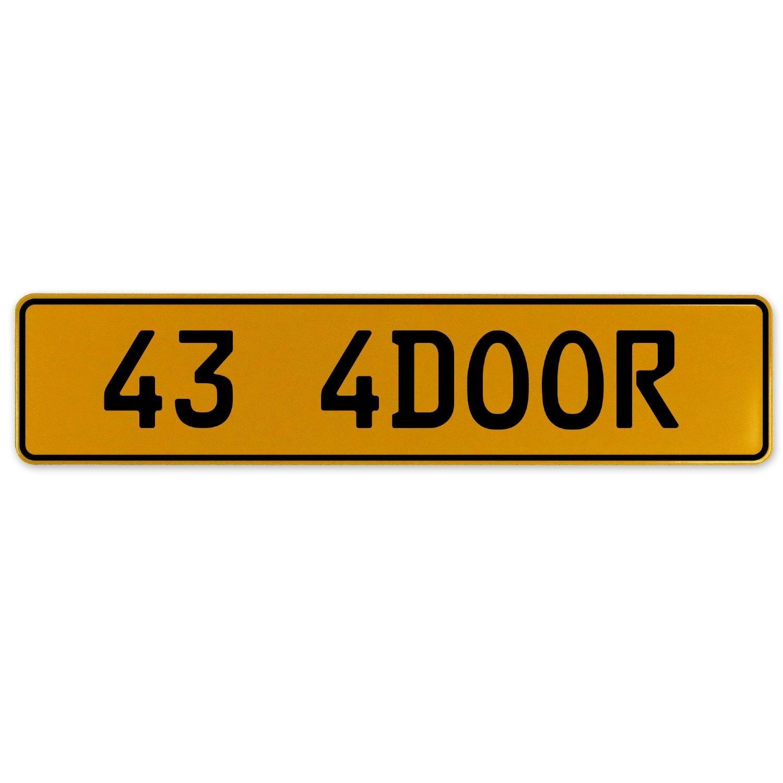 Vintage Parts 563155 43 4DOOR Yellow Stamped Aluminum European Plate