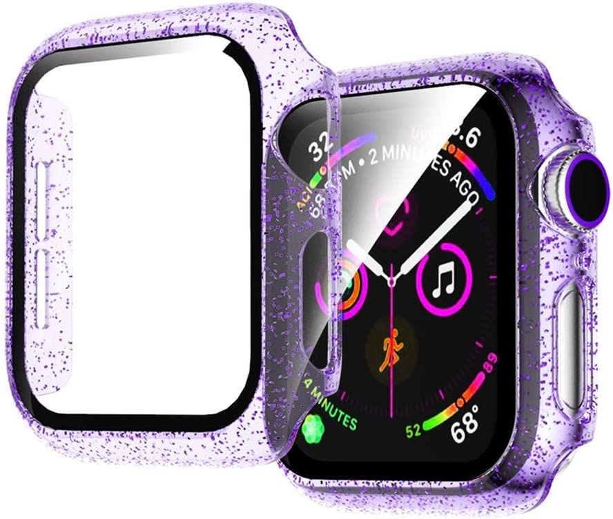Jelly Case Compatible for Apple Watch Series 3 2 1 42mm Clear HD Glass Screen Protector with Glitter PC Bling Overall Protective Cover for iWatch 42mm