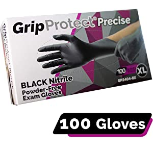 GripProtect Precise Black Nitrile Exam Gloves, Fentanyl Resistant, Chemo-Rated, for Food, Home, Hospital, Law Enforcement, Tattoo 100/bx (X-Large)