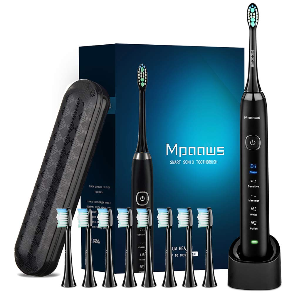 Sonic Electric toothbrush With Travel Case and 8 brush heads, 6 Hours Charge Minimum 30 Days, Use 5 Optional Modes, Adapt to Any USB Interface for Wireless Charging Dark black