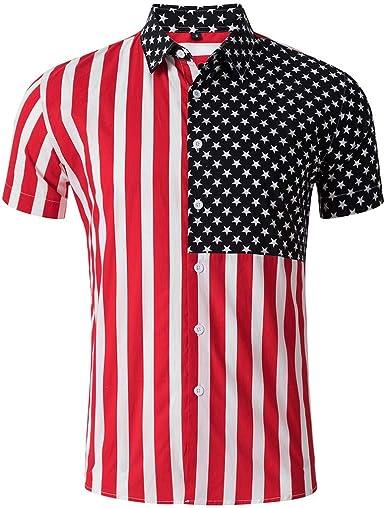 Hombres Rayas Bandera Americana Estrellas Empalme Camisa De Manga Corta Blusa: Amazon.es: Ropa y accesorios