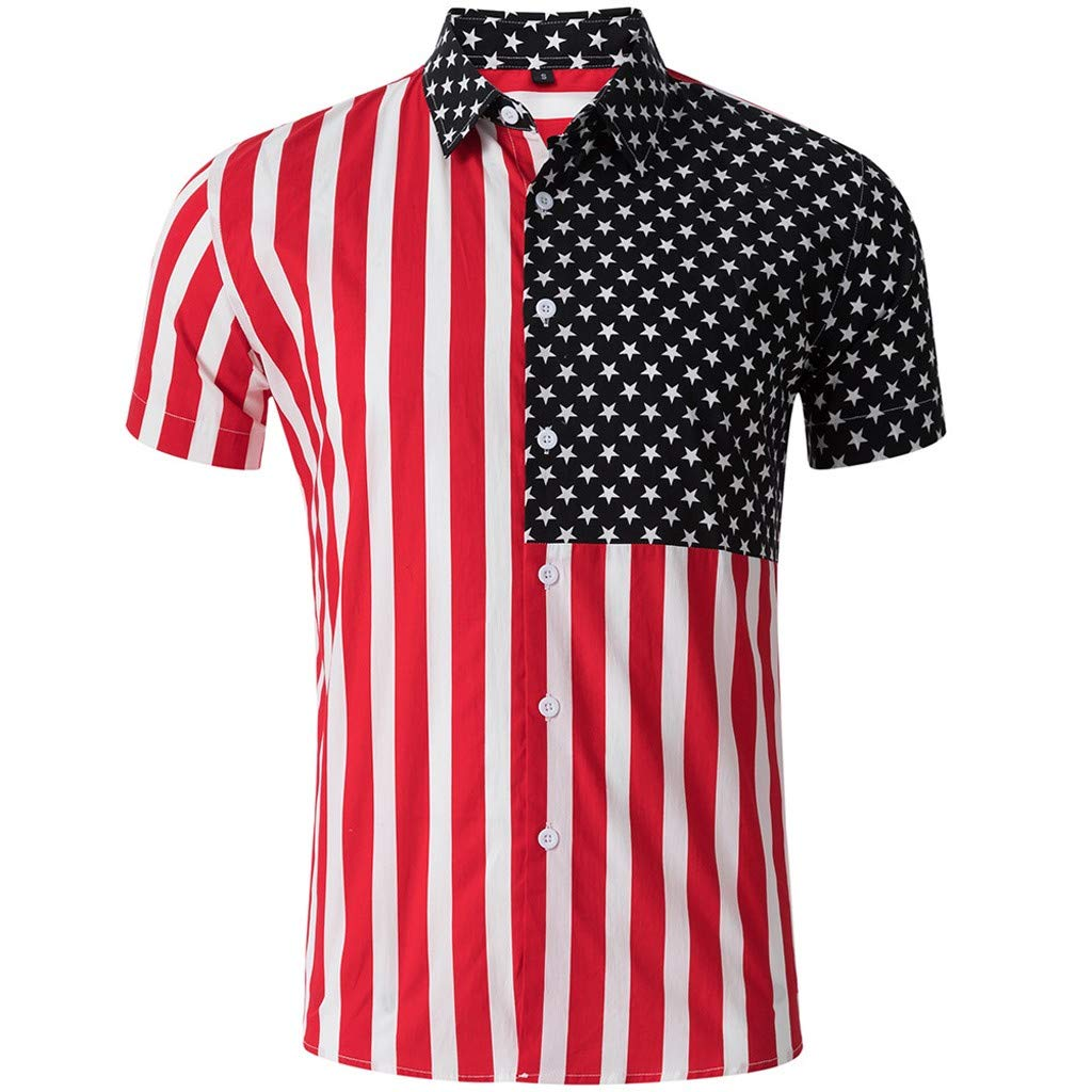 Men Long Shirt,Men's Striped American Flag Stars Splicing Short Sleeve Top Shirt Blouse,Men's Big & Tall Shirts,Red,M