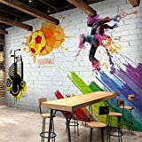 Pbldb Custom Wall Mural Brick Wall City Graffiti Football Basketball Large Murals Bar Restaurant Living Room Decor Non-Woven Wallpaper-400X280Cm