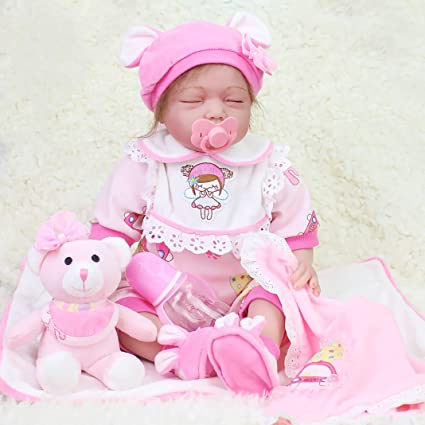 "23/"" Handmade Full Body Silicone Reborn Baby Girl Doll Vinyl Lifelike Lace Dress"