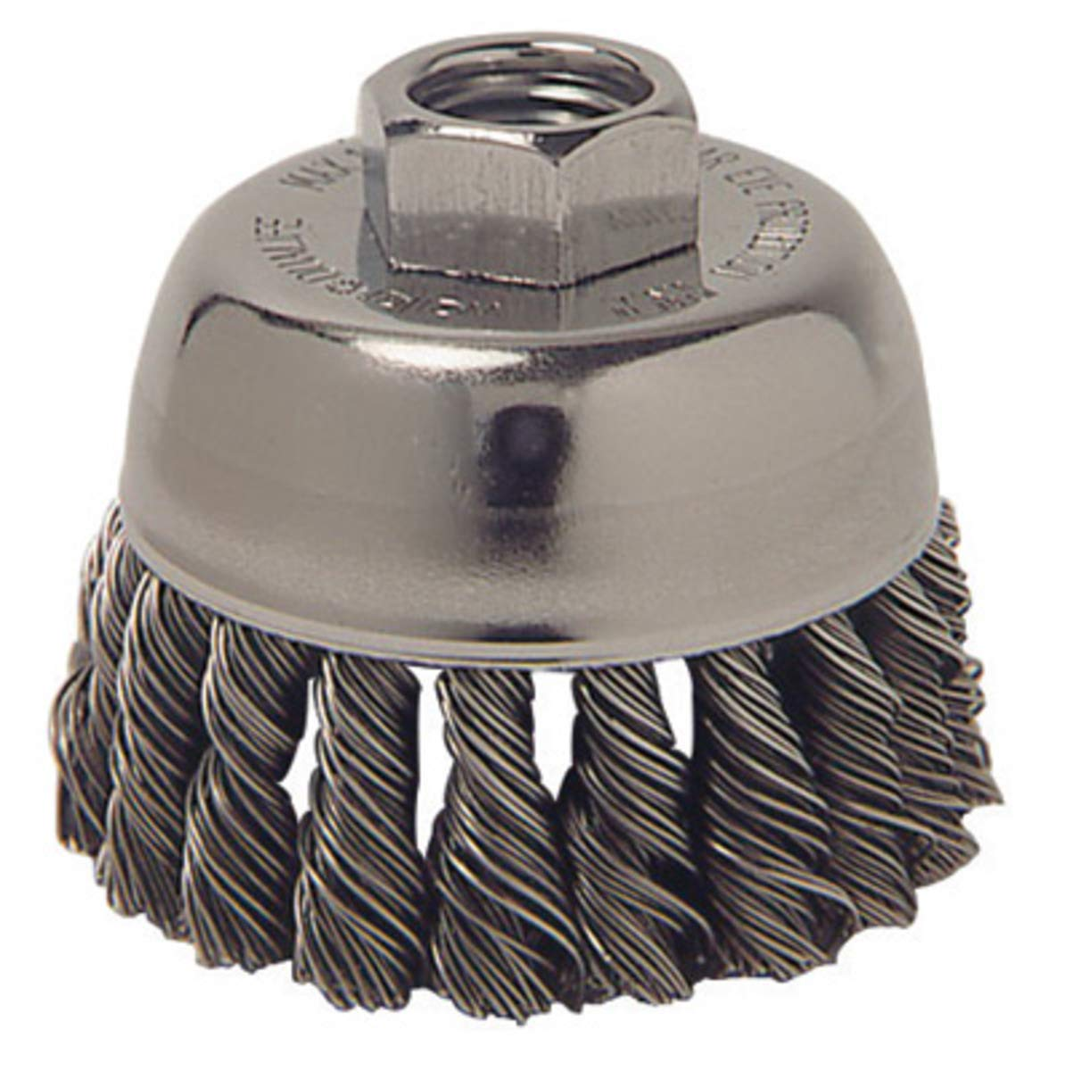 Weiler 3'' X 5/8'' - 11 Vortec Pro Carbon Steel Single Row Coarse Knot Wire Cup Brush For Use On Right Angle Grinders (Display Package) - 5 Each/Pack
