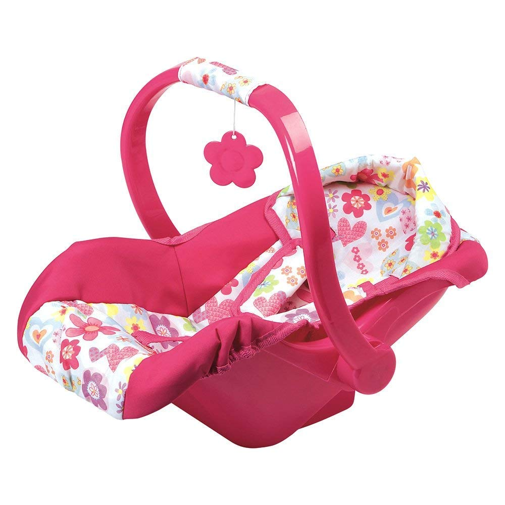 Stripe Hearts Design Multicolor Adora Baby Doll Car Seat Fits Dolls Up to 20 inches Pink Car Seat Carrier