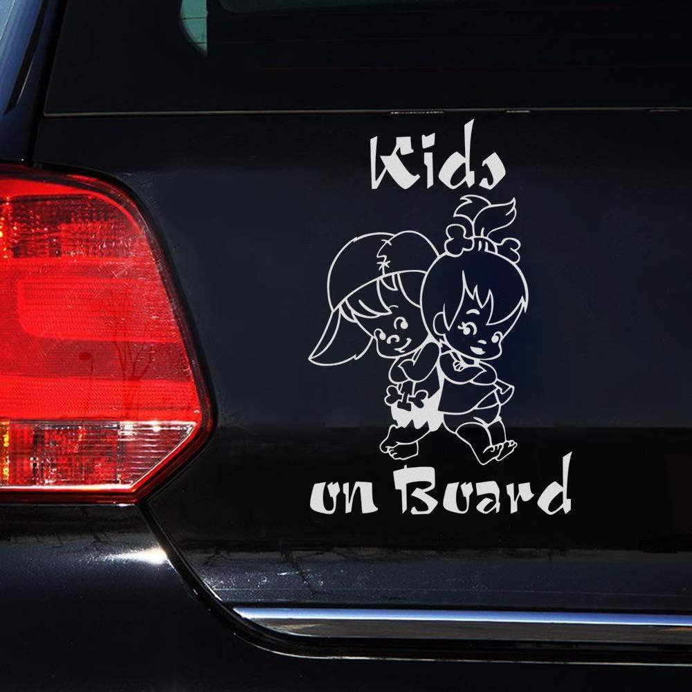 LanLan Autocollants pour Auto Enfants Mignons /à Bord de Bande dessin/ée Avertissement Autocollant de Voiture fen/être d/écoration Vinyle Autocollant Blanc