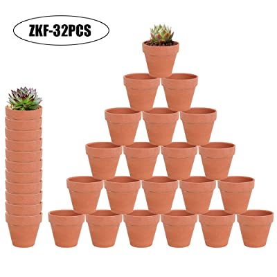 "32 Pcs - 2.16"" Small Mini Clay Pots Terracotta Pot Ceramic Pottery Planter Terra Cotta Flower Pot Succulent Nursery Pots - Great for Window Boxes, Cactus, Plants, Crafts, Wedding Favors: Garden & Outdoor"