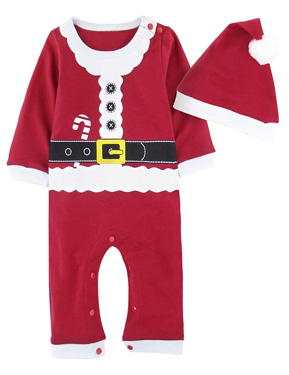 A&J Design Baby Boy Christmas Santa Elf Costumer Romper with Hat
