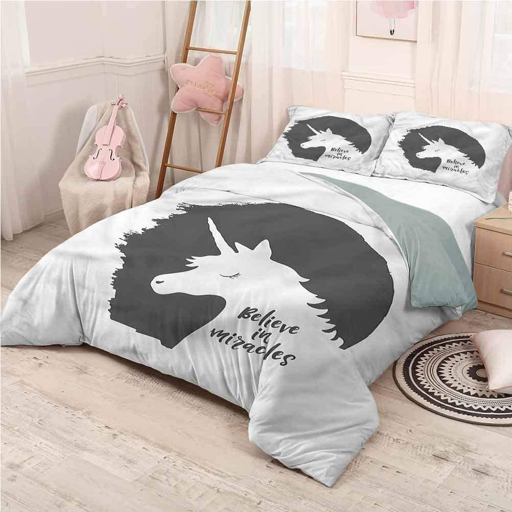 prunushome Quote Three Pieces for Quilt Cover Pillow Case Believe in Miracles Phrase Printing Bedclothes Decor California King