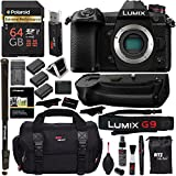 Panasonic Lumix G9 Mirrorless Camera Body 20.3 MP G9KBODY, Panasonic G9 Vertical Battery Grip, Polaroid 64GB High Speed SD Card U3, Polaroid 72 Monopod, Spare Battery and Accessory Bundle