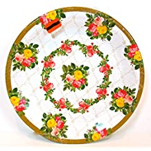 Designer Paper Plates,Victorian Roses,18x,red/pink/yellow Roses,gold Filigree,10 1/4