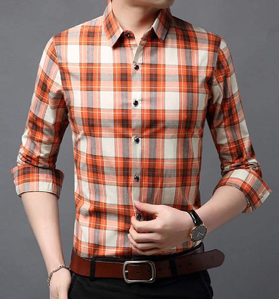Mfasica Mens Plaid Pattern Long Sleeve Silm Fit Peaked Collar Britain Work Shirt