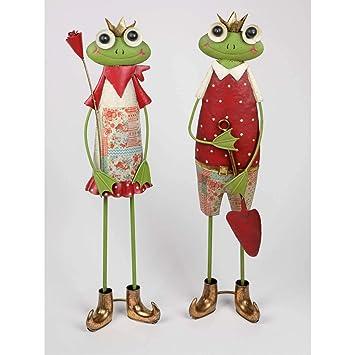 16cm hellgrün Formano 2er Set Dekofiguren Frösche mit Blumen Froschpaar H