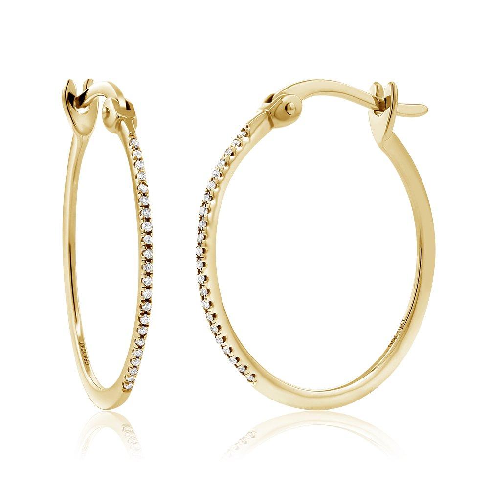 10K Yellow Gold 1 Inch Round Cut Women's Diamond Hoop Earrings (0.066 cttw, I-J Color, I1-I2 Clarity)