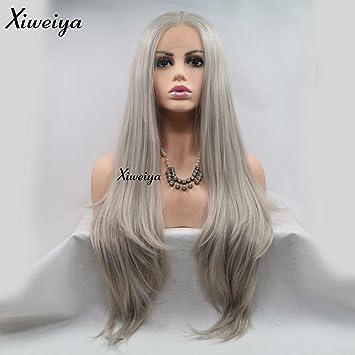 Xiweiya Gris Argenté Naturel Cheveux Raides Perruque Lace Front