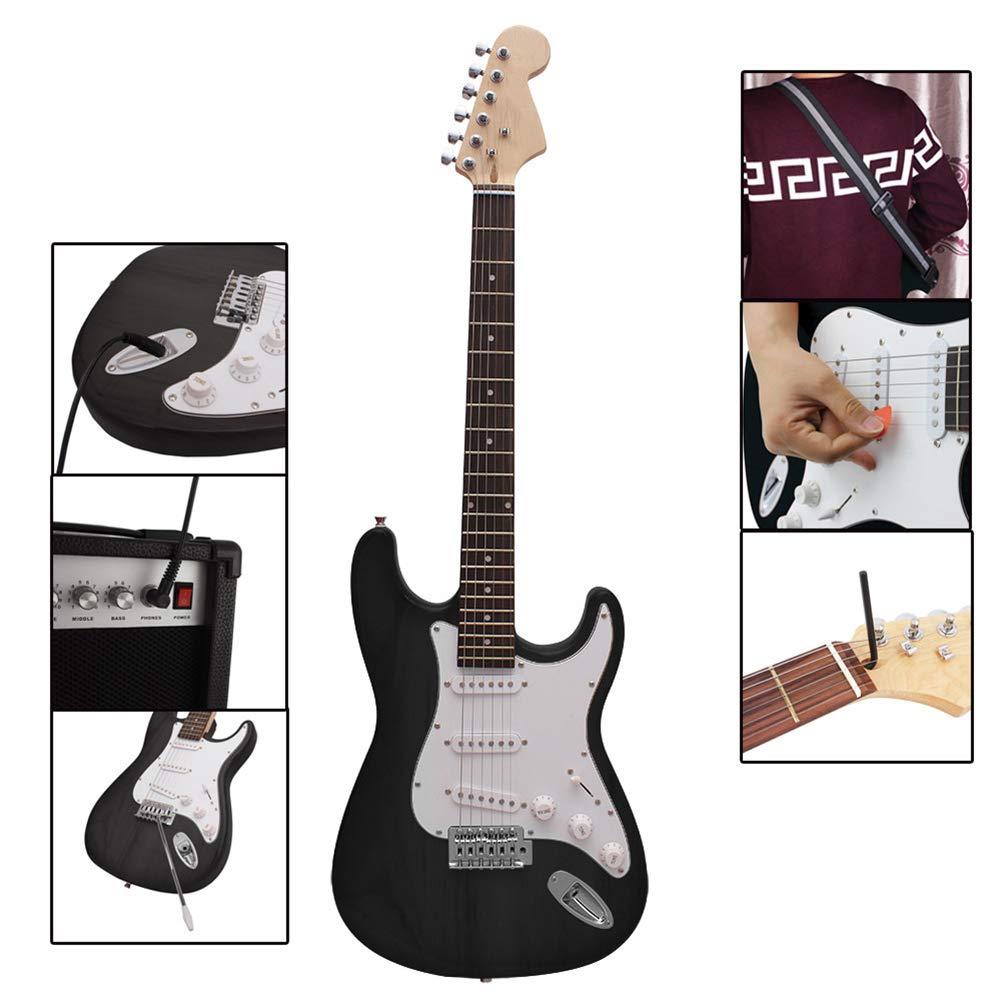 NUYI-4 Guitarra eléctrica Genuina ST Serie Guitarra eléctrica Negro Principiante práctica Tocando Guitarra eléctrica: Amazon.es: Hogar