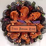 Free Broom Ride Mesh Halloween Wreath