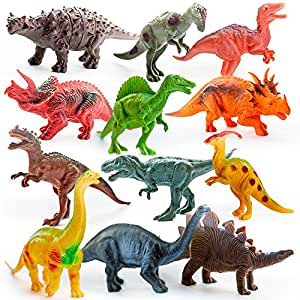Kids Imaginative Dinosaurs Small & Large Plastic Assorted Toy Dinosaurs | 12 Piece Set, 5-7 | Includes Digital Coloring Book