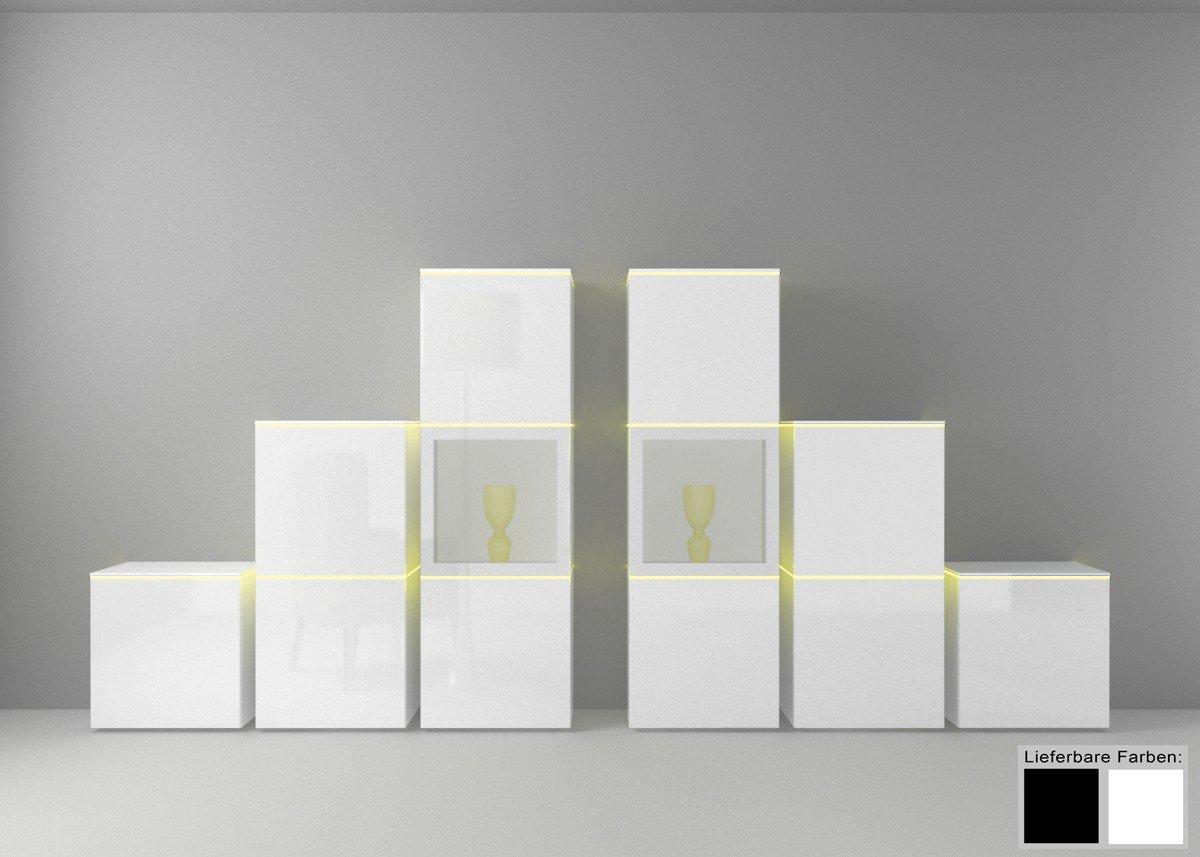 Dreams4Home Wohnkombination Square Regal System Wohnwand weiß o schwarz hochglanz Beleuchtung, Beleuchtung:mit Beleuchtung;Farbe:Weiß