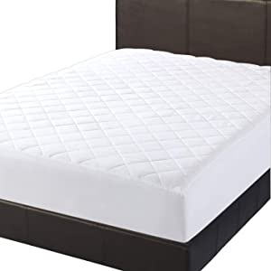 Lux Decor Full Mattress Pad - Stretch-to-Fit Mattress Cover - Pillow Top Mattress Pad 16 Inches Deep - Hypoallergenic White Fitted Mattress Topper (1, Full)