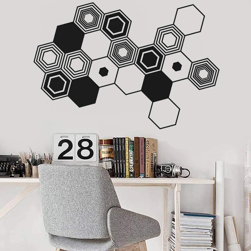 woyaofal Hexagons Abstract Wall Decal Geometric Wall Art Sticker Office Decor Vinyl Decals Minimalist Abstract Modern Wall Art Mural 61x42cm: Amazon.es: Hogar