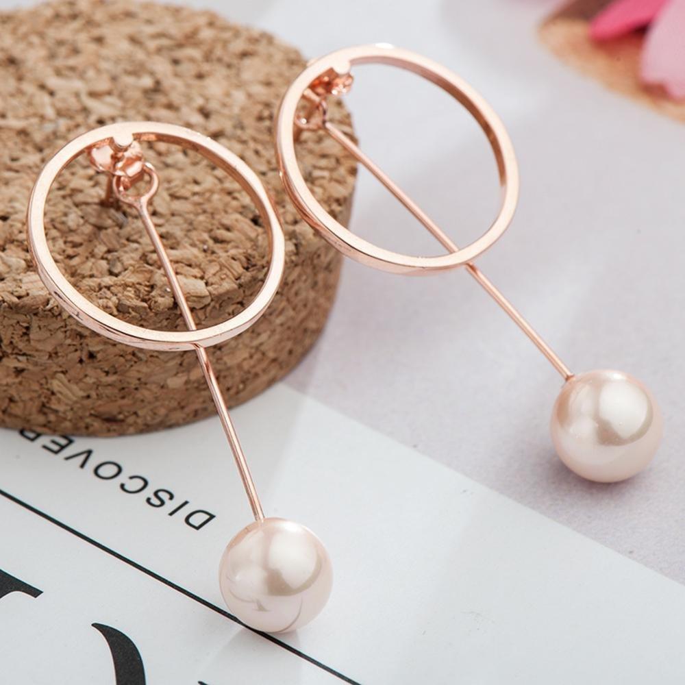 Daeou Womens Earrings 925 Sterling Silver Round Pearl Earrings 25156mm European and American Earrings Temperament Female Stud