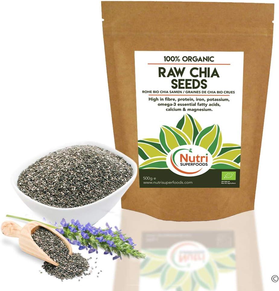 Semillas de chía orgánicas crudas - Proteína vegetal vegana para la resistencia - Mejora el metabolismo y la digestión - 500g