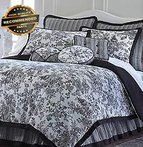 Gatton Premium New Toile Garden Full Black Floral White Comforter Skirt | Style Collection Comforter-311012532