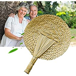 Vintage Hand-Woven Fan Innovative Handmade Cattail Leaf Braided Round Fan, Chinese Style Natural Handheld Palm-leaf Fan Cool Fan Exquisite Handicraft Perfect for Summer, Home Decoration, Party Favors