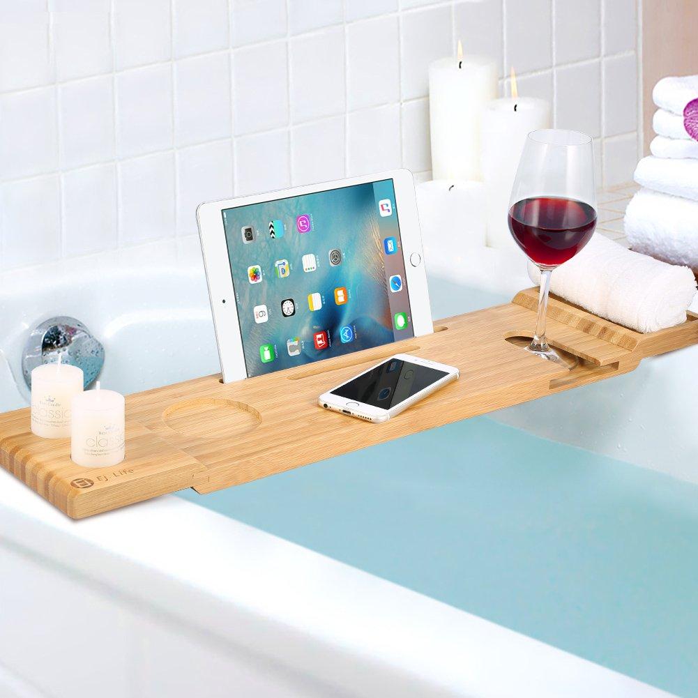 ADD ONE +1 Bamboo Bathtub Caddy Bath Tub Tray with Soap Holder ...