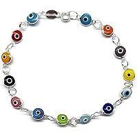 "MYSTIC JEWELS By Dalia - Silver Good Luck Eye Bracelet with Tiny Eyes - 7.5"""
