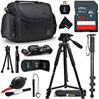 Ultimate SONY Digital Camera ACCESSORIES Kit for SONY Cyber-Shot DSC-RX100 IV, RX10 II, HX90V, XW500, QX30, RX100 III, H400, H300, HX400V, QX10, QX100, RX1R, RX10, RX100 II, XH50V, XH300, NEX5T, NEW3N, H200, RX1, NEX6, NEX5R, RX100, H90, HX200V, HX30V, HX20V, HX10V, NEX5N, NEXC3, NEX7, NEX7V, HX100V, NEX5, NEX3, HX1, H50 DIGITAL Cameras Includes: 32GB High Speed SD Memory Card + Pro Grade 72' inch Tripod + Full size 72' Inch Monopod + Well Padded Camera Case + Memory Card Wallet Case Holder + 58mm Center Pinch Lens Cap + Lens Cap Holder + 2 Screen Protectors + Universal Memory Card Reader + Cleaning Dust Blower + Cleaning Pen + Mini Flexible Table Tripod + Deluxe Cleaning Kit