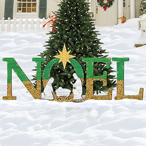 Christmas NOEL Nativity Rustic Yard Lawn Sign – Holiday Wooden Free-Standing Outdoor Decoration ()