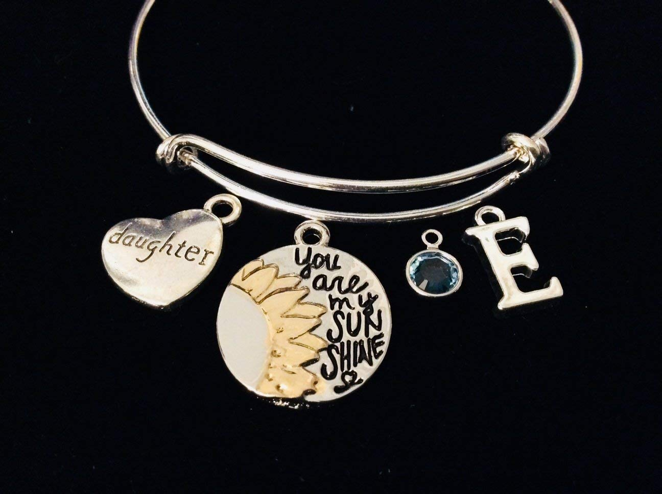 Daughter Personalized You are my Sunshine Adjustable Bracelet Expandable Silver Wire Bangle Two Toned Silver Gold Mixed Metals initial Birthstone