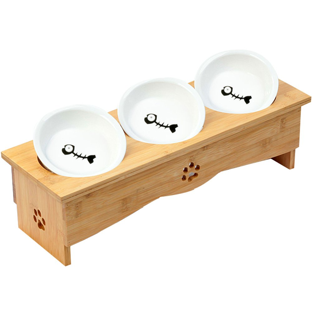 Creation Core Solid Bamboo Elevated Pet Dinner Feeder for Small Dogs and Cats Raised Stand with Three Ceramic Bowls by Creation Core