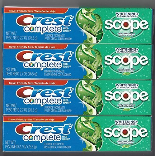 Crest Complete Multi-Benefit Whitening + Scope Minty Fresh Flavor Toothpaste 2.7 Oz (Pack of 4) (Toothpaste Scope)