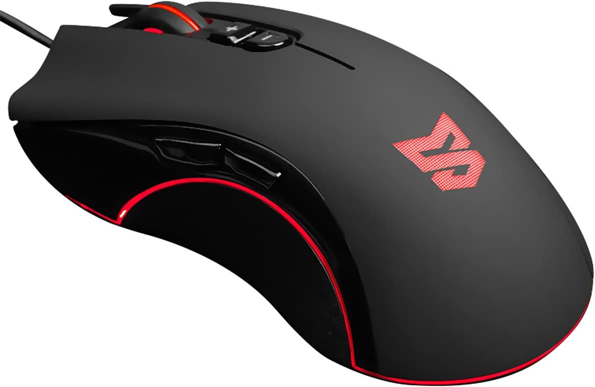 Wired Gaming Mouse USB Optical Mouse with 7 Programmable Buttons Adjustable DPI|Ergonomic Mice with 4D Anti-Slip Scroll Wheel for PC, Computer Laptop by Qisan
