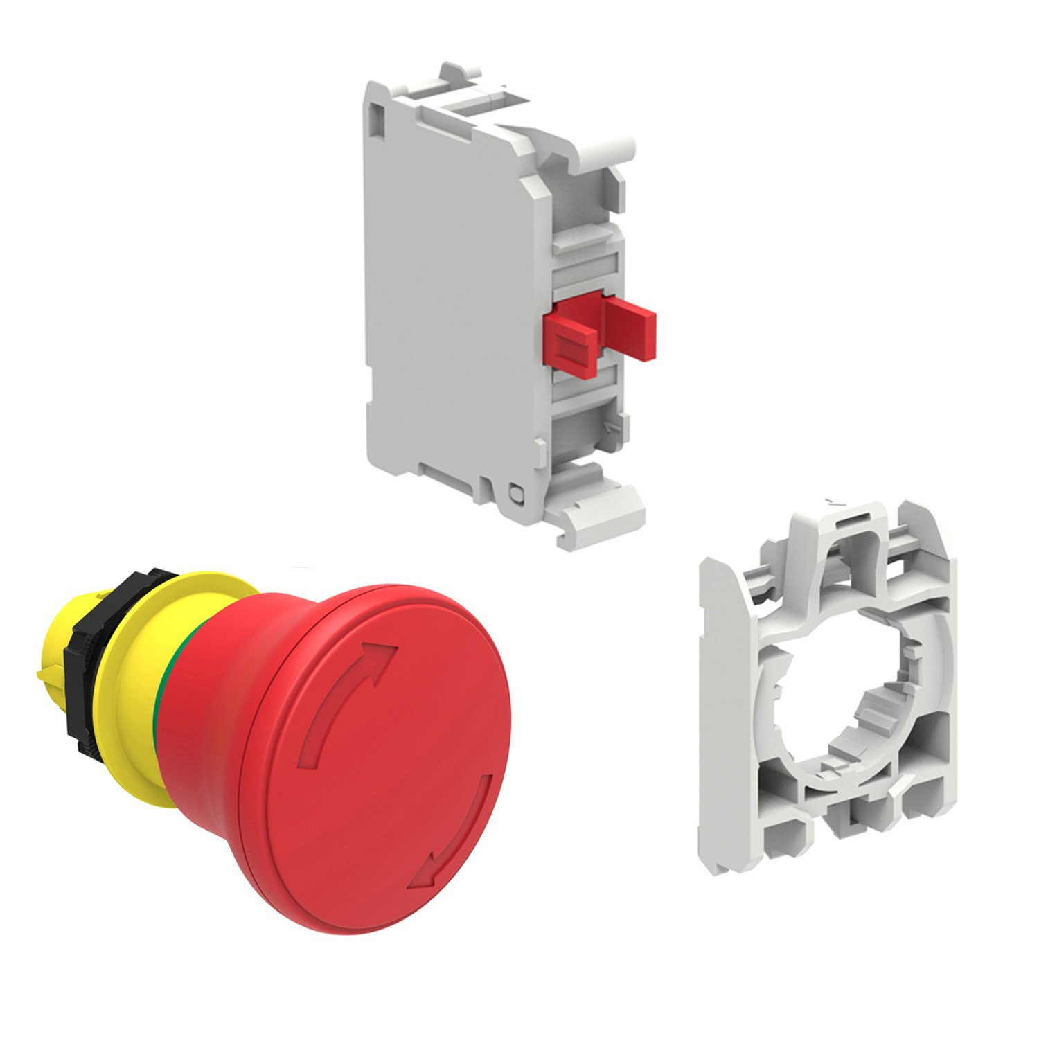 40 mm Twist-to-Release Mushroom Head NC Contact and Contact Holder ASI LPCB6644KIT Emergency Stop Switch Kit with 40 mm/Red/E-Stop Push Button