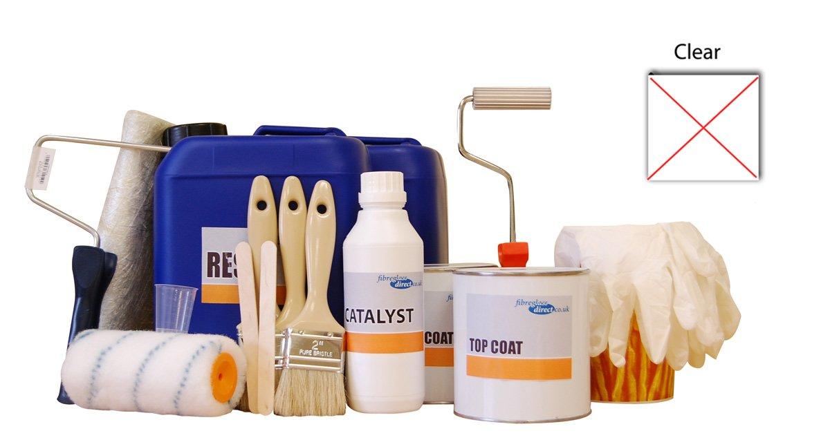 9917005.C 5sqm Professional Fibreglass/GRP kit incl. Clear topcoat reisn, glass matting and application tools by FibreGlassDirect