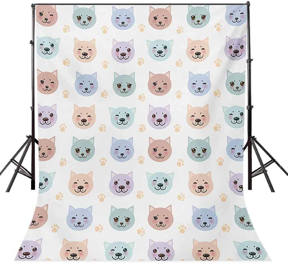 10x12 FT Photo Backdrops,Smiley Cat Muzzle and Paw Prints Pattern on Cartoon Animal Themed Kitty Kids Nursery Background for Baby Shower Birthday Wedding Bridal Shower Party Decoration Photo Studio