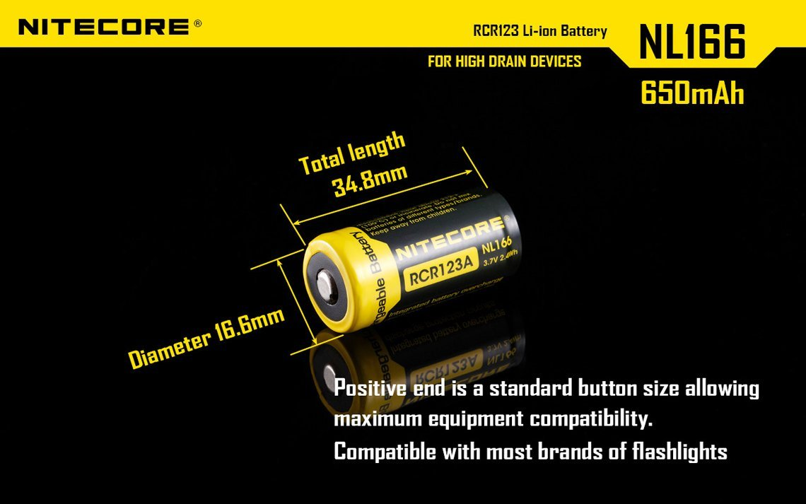 Bundle 8 Pack Nitecore NL166 RCR123A 3.7V 650mA 2.4Wh Protected Li-ion 650mAh 16340 Rechargeable Batteries with EdisonBright USB powered LED reading light by EdisonBright (Image #6)