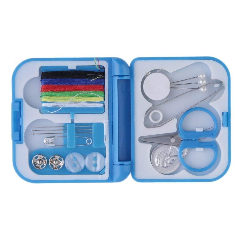 Kit de costura de viaje con agujas de rosca mini funda tijeras de pl/ástico juego de pines de cinta